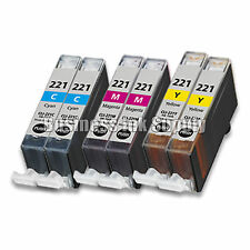 6 COLOR CLI-221CLI221 CLI 221 Ink Tank for Canon Printer Pixma MX860 MX870 MP560