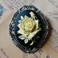 HUGE KiTsCh GOTH EmO ViCtOrIaN ViNtAgE SILVER BLACK CREAM ROSE CAMEO BROOCH PIN