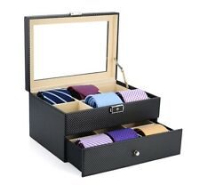 12 TIE DISPLAY CASE BLACK CARBON FIBER BELTS MENS ACCESSORIES STORAGE BOX GIFT
