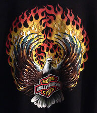 Harley Davidson Motorcycles Eagle w/ Flames - Just Leather Black T Shirt L