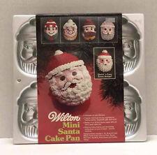 Wilton Cake Pan Santa Face Christmas 6 Mini Cakes Baking Tin Mold Vintage Unused