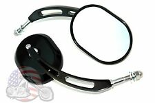 Black Billet Oval Mirror Set Pair Custom Cateye Mirrors Slotted Arm Harley Dyna