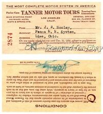 1926 Los Angeles Tanner Motor Tours Bus Railroad Pass Ticket