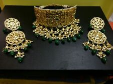 Kundan Gold Tone Bollywood Choker Style Necklace Set Bridal Latest Jewelry J1854