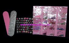 NAIL ART KIT GIRLS KIDS STICKERS GEMS JEWELS FILE TIPS  DESIGN CRAFT SET