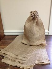 "Lot of 5 Burlap Bags with Natural Jute Drawstring - 8"" x 12"" - Gunny Sacks Bag"