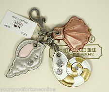 NEW Coach Sea Shells Metallic Leather Crystals Key Chain Ring Purse Charm 92910
