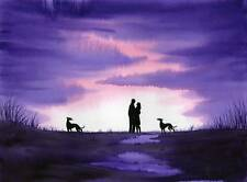 PAINTING GREYHOUND WHIPPET LURCHER 4824 Dianne Heap DOG SKY PRINT SUNSET LOVERS
