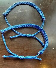 2 blue Braided Lucky  String Love  Adjustable Erik's Bracelets handmade