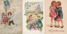 3 x Vintage Postcards - Cute Children - Embossed - Greetings - Flowers - Birds