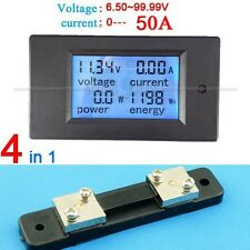 DC 50A LCD Meter Spannung Strom KWh Watt Car Battery Panel Power Monitor+Shunt