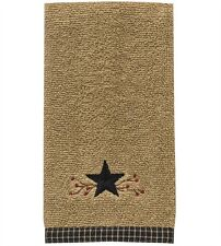 Country Primitive Star Vine Terry Fingertip Towel Rustic Cabin Pip Berry Decor