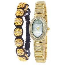 Alias Kim Oval Crystal Steel Bracelet Band Women Quartz Watch Shamballa Gift Set