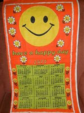 VTG NOS bright happy face 1975 calendar linen? dish cloth towel  16x28 p159