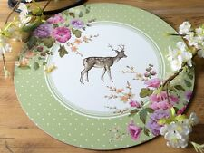 Set of 4 Katie Alice Highland Fling Stag Shabby Chic Round Placemats