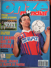 Onze n°62 (mars 1994) Spécial Coupes d'Europe - Ginola - Italie-France - Poster