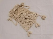 ANTIQUE VICTORIAN IVORY HAND CROCHET DRAW STRING HANDBAG PURSE RETICULE BAUBLES