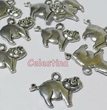12 Antique Silver Pigs Charms - Piggy Tibetan Silver - Pendant Farm 20mm