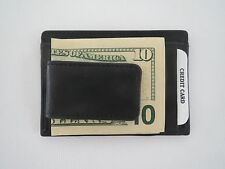 New Men's Genuine Leather Black Magnetic Money Clip Wallet ID Credit Card Holder