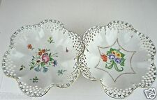 VINTAGE PORCELAIN BOWL PAIR LACE RIMS,GOLD,HAND PAINTED FLOWERS,DRESDEN STYLE