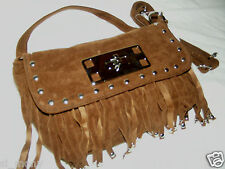 Women Coffee Shoulder Hand Bag Remov Straps Flap Over Faux Suede Size S/M