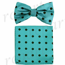 New Men's Microfiber Pre-tied Bow Tie & Pocket Square Hankie Aqua Green Black