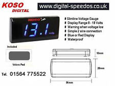 Slimline Volt Voltmeter Voltage Meter Gauge Waterproof Cars or Motorcycles Blue
