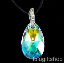 MADE WITH SWAROVSKI CRYSTAL 22MM 6106 AB COLOR TEAR DROP CUT PENDANT NECKLACE