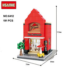 HSANHE Mini Street PizzaHut Pizzeria Restaurant Nano Blocks Diamond Building Toy
