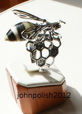 Beautiful Baltic Amber Wasp Ring with Silver 925