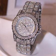 Luxury women Stainless Steel watch rhinestone crystal Quartz watches Dress Watch
