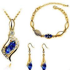 Gold Plated Blue Austrian Crystal Necklace, Bracelet & Earrings Set