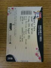12/08/2011 Cricket Ticket: England v India [At Warwickshire] (folded). This item