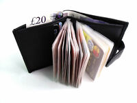 NEW SOFT BLACK REAL LEATHER CREDIT CARD HOLDER WALLET PURSE HOLDS 24 CARDS