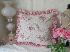 Romantic~ABBY PiNK ROSE* Stripe Ruffled SQUARE TOSS Quilted PILLOW NEW!