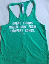 LORNA JANE LIFE Tank Top Heathered Green White GREAT THINGS size S Yoga Gym Run