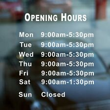 Custom Vinyl Lettering TRADING HOURS Window stickers decal business shop DIY