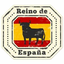 "Reino Espana Spain Bull travel car bumper window suitcase sticker 4"" x 4"""