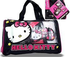 Hello Kitty slumber set 3PC duffle bag + fleece throw + eye mask pink zebra bed