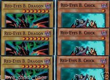 Set of 6-Cards: 3 Red-Eyes B. Dragon +3 Red-Eyes B. Chick 1st Lcjw Mint yugioh