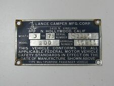 Vintage Lance Camper Plaque Travel Trailer Emblem Badge Ornament Camper RV ID