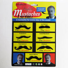 Set of 7 Stylish Funny Party Fake Moustache Mustaches Black Costume Dress Supply
