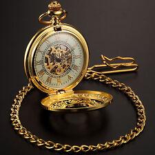 Golden Herrenuhr Damenuhr Handaufzug Mechanische Taschenuhr Skelettuhr mit Kette
