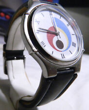 Mens Roman Numeral Pop Art Sweda Casual Watch w/ Padded Black Leather Band. <$15