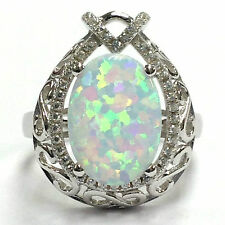 LOVELY ART NOUVEAU STYLE WHITE GILSON OPAL FILIGREE RING 925 STERLING SILVER