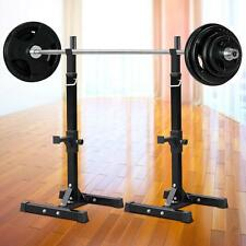 Pair of Adjustable Standard Solid Steel Squat Stands Barbell Free Press Bench