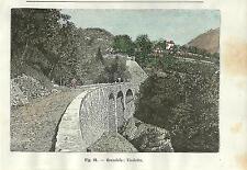 Stampa antica GRANDOLA ed UNITI viadotto val Menaggio Lago Como 1896 Old Print