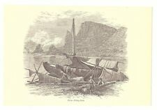 TARTAR FISHING-BOATS Russia 1885 Engraving Picture Art Print