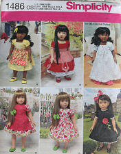 "18"" GIRL DOLL CLOTHES Simplicity Sewing Pattern 1486 American Made NEW Uncut"