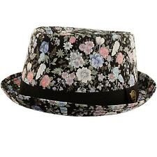 Unisex Cool Summer Floral Pork Pie Derby Fedora Upturn Brim Hat Black 56cm S/M